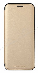 Totu Design Samsung Galaxy S8 İnce Yan Kapaklı Gold Deri Kılıf