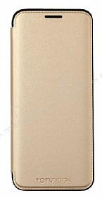 Totu Design Samsung Galaxy S8 Plus İnce Yan Kapaklı Gold Deri Kılıf