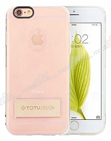 Totu Design Tpu Metal iPhone 6 / 6S Gold Standlı Şeffaf Silikon Kılıf
