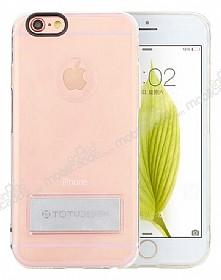 Totu Design Tpu Metal iPhone 6 / 6S Silver Standlı Şeffaf Silikon Kılıf