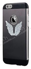 Totu Design Wing iPhone 6 Plus / 6S Plus Taşlı Metal Siyah Kılıf