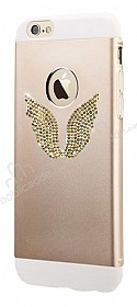 Totu Design Wing iPhone 6 Plus / 6S Plus Taşlı Metal Gold Kılıf