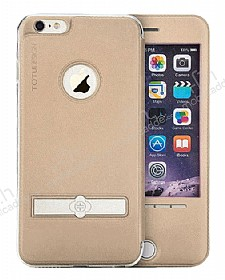 TotuDesign Full Screen Touch iPhone 6 / 6S Manyetik Kapakl� Pencereli Gold Deri K�l�f