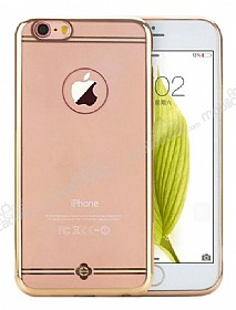 Totu Design Simple Series iPhone 6 / 6S Gold Metalik Kenarlı Şeffaf Silikon Kılıf