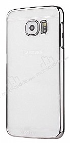TotuDesign Simple Series Samsung i9800 Galaxy S6 Silver Metalik Kenarlı Şeffaf Rubber Kılıf