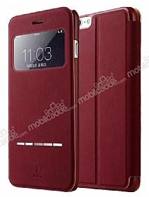 Baseus Terse iPhone 6 Plus / 6S Plus Manyetik Kapaklı Pencereli Bordo Deri Kılıf