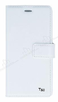 Eiroo Turkcell T50 Cüzdanlı Yan Kapaklı Beyaz Deri Kılıf