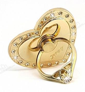 Universal Taşlı Kalp Gold Yüzük Telefon Tutucu