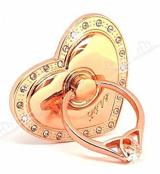 Universal Taşlı Kalp Rose Gold Yüzük Telefon Tutucu