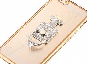 Universal Taşlı Parfüm Silver Yüzük Telefon Tutucu