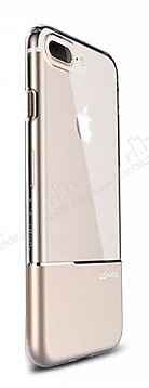 Usams Ease Series iPhone 7 Plus / 8 Plus Gold Metal Şeffaf Silikon Kılıf