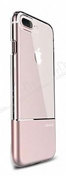 Usams Ease Series iPhone 7 Plus / 8 Plus Metal Şeffaf Rose Gold Silikon Kılıf