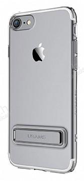 Usams iPhone 7 / 8 Standlı Dark Silver Silikon Kılıf