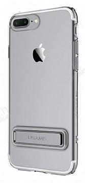 Usams iPhone 7 Plus / 8 Plus Standlı Dark Silver Silikon Kılıf