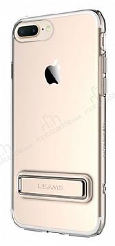 Usams iPhone 7 Plus / 8 Plus Standlı Gold Silikon Kılıf