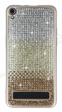Vestel Venus V3 5020 Taşlı Geçişli Gold Silikon Kılıf