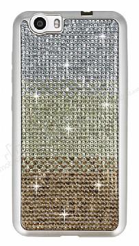 Vestel Venus V3 5070 Taşlı Geçişli Gold Silikon Kılıf