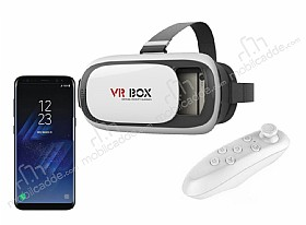 VR BOX Samsung Galaxy S8 Plus Bluetooth Kontrol Kumandalı 3D Sanal Gerçeklik Gözlüğü