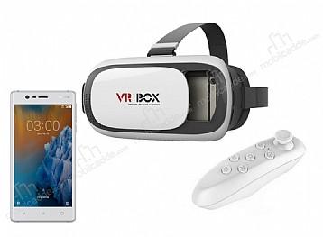 VR BOX Nokia 3 Bluetooth Kontrol Kumandalı 3D Sanal Gerçeklik Gözlüğü