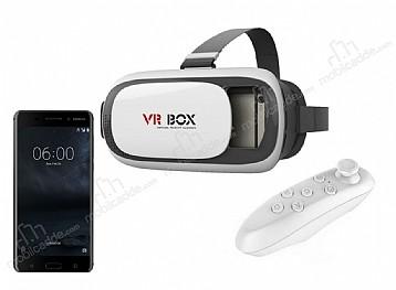 VR BOX Nokia 6 Bluetooth Kontrol Kumandalı 3D Sanal Gerçeklik Gözlüğü