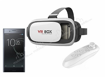 VR BOX Sony Xperia XZ Premium Bluetooth Kontrol Kumandalı 3D Sanal Gerçeklik Gözlüğü