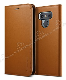 VRS Design Native Diary LG G6 Gerçek Deri Kahverengi Kılıf