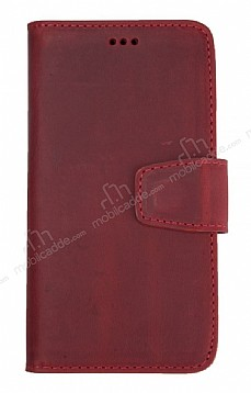 Wachikopa iPhone SE 2020 Kapaklı Kırmızı Gerçek Deri Kılıf