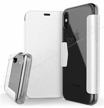 X-Doria Engage Folio iPhone X Manyetik Kapaklı Beyaz Gerçek Deri Kılıf