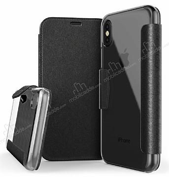 X-Doria Engage Folio iPhone X Manyetik Kapaklı Siyah Gerçek Deri Kılıf