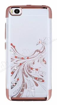 Xiaomi Mi 5 Rose Gold Peacock Taşlı Şeffaf Silikon Kılıf