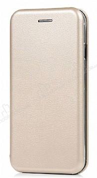 Xiaomi Mi 5s Plus Curve Manyetik Kapaklı Gold Deri Kılıf