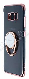 Zhuse Samsung Galaxy S8 Plus Selfie Yüzüklü Rose Gold Kenarlı Şeffaf Silikon Kılıf
