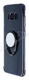 Zhuse Samsung Galaxy S8 Plus Selfie Yüzüklü Siyah Kenarlı Şeffaf Silikon Kılıf