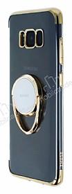 Zhuse Samsung Galaxy S8 Plus Selfie Yüzüklü Gold Kenarlı Şeffaf Silikon Kılıf