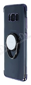 Zhuse Samsung Galaxy S8 Selfie Yüzüklü Siyah Kenarlı Şeffaf Silikon Kılıf