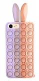 iPhone 7 / 8 Push Pop Bubble Tavşan Mor-Pembe Silikon Kılıf