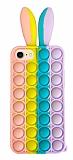 iPhone 7 / 8 Push Pop Bubble Tavşan Mor-Mavi Silikon Kılıf