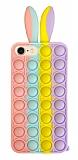 iPhone 7 / 8 Push Pop Bubble Tavşan Mor-Sarı Silikon Kılıf