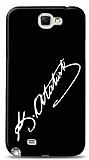 Dafoni Samsung N7100 Galaxy Note 2 Atat�rk �mza Siyah K�l�f