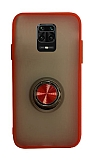 Dafoni Union Ring Xiaomi Redmi Note 9 Pro Ultra Koruma Kırmızı Kılıf