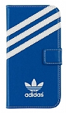 adidas Samsung i9500 Galaxy S4 Yan Kapakl� Mavi Deri K�l�f