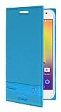 Alcatel A3 Gizli Mıknatıslı Standlı Mavi Deri Kılıf