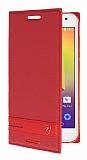 Alcatel A3 Gizli Mıknatıslı Standlı Kırmızı Deri Kılıf