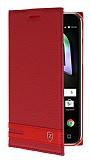 Alcatel Shine Lite Gizli Mıknatıslı Yan Kapaklı Kırmızı Deri Kılıf