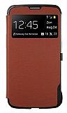 Anymode Samsung Galaxy Mega 6.3 Uyku Modlu Pencereli Kapakl� Kahverengi K�l�f
