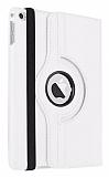 Apple iPad mini 4 360 Derece Döner Standlı Beyaz Deri Kılıf
