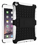 Apple iPad mini 4 Ultra Süper Koruma Standlı Beyaz Kılıf