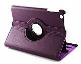iPad Mini 2 / Mini 3 360 Derece D�ner Standl� Mor Deri K�l�f