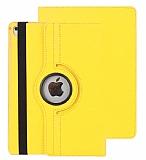 Apple iPad Pro 10.5 360 Derece Döner Standlı Sarı Deri Kılıf