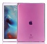 Apple iPad Pro 12.9 Ultra İnce Şeffaf Pembe Silikon Kılıf